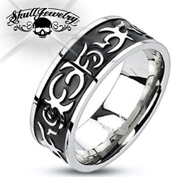 'Tribal Tattoo' Stainless Steel Ring (c070)