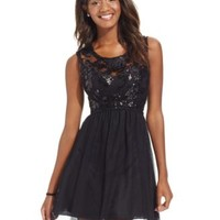 Sequin Hearts Juniors' Sequin Illusion Lace Party Dress | macys.com