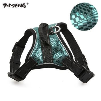 T-MENG Small Medium Dog Harness Vest Sparkling Genuine Leather Pet Harness Reflective Breathable Mesh Chest Straps Pet Products