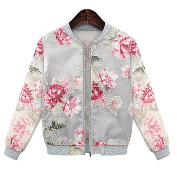 European Ladies Women Organza Floral Printed Jacket Coat Outwear
