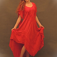 GYPSY Dress RED Passion hi Lo tiered skirt embroidery braid ANGEL sleeve tattered Tango indie festival Day gown folk Stevie nicks s m l