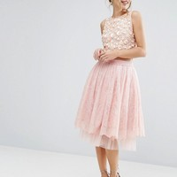 Lace & Beads Tulle Midi Skirt with Lace Overlay at asos.com