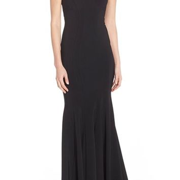 Betsy & Adam Deep V-Neck Jersey Mermaid Gown | Nordstrom