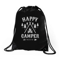 happy camping Drawstring Bags