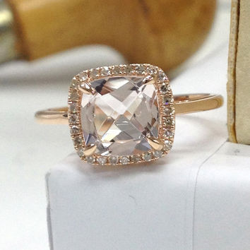 Morganite Engagement Ring 14K Rose Gold!Diamond Wedding Bridal Ring,8mm Cushion Cut Pink Morganite,Halo,Claw Prongs,Can make matching band