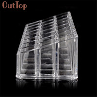 OutTop 1pc Clear Acrylic 24 Lipstick Tray Cosmetic Organizer Stand Display Holder Good Quality J170106