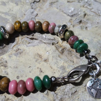 Gemstone Beaded Bracelet PINK/GREEN/NATURAL African Jade Rhodocrosite Jasper Boho Chic Hippie Bangle  Leather Wrap Jewelry Gypsy Bohemian