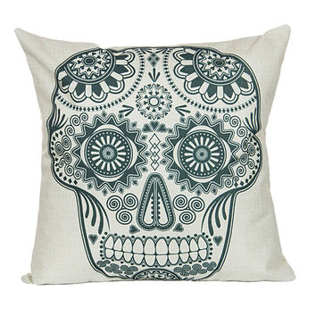 "18"" x 18"" Cotton Linen Square Throw Pillow Case Cushion Cover Skull Pattern  P1002"
