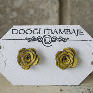 Mini Mustard Ash Design- Mustard Yellow and Charcoal Grey Corduroy Bella Fabric Rose Earrings- Mini Dainty Rose - Classy Line by DoogleBambaje