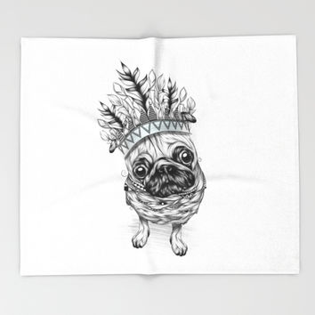 Indian Pug Throw Blanket by LouJah | Society6