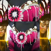 Pink Indian Princess Bra: festival/ rave wear, edm, Indian, burning man, halloween, costume, edc, native american, tribal, aztec