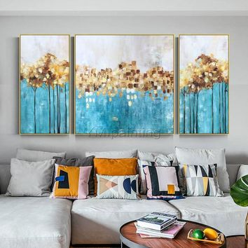 3 pieces wall art Original Gold painting abstract flower Acrylic painting bilder Painting On Canvas green Wall Pictures dinning room decor