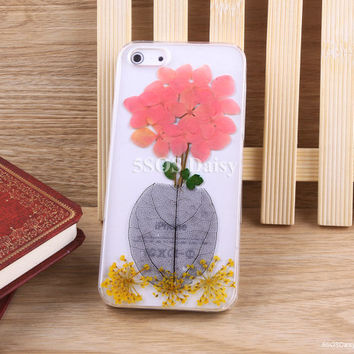 Pressed Flower hydrangea iPhone 5 case, iPhone 4 case, iPhone 4s case, iPhone 5s case, iPhone 5c case, Galaxy S4 S5 Note 3 - 01014