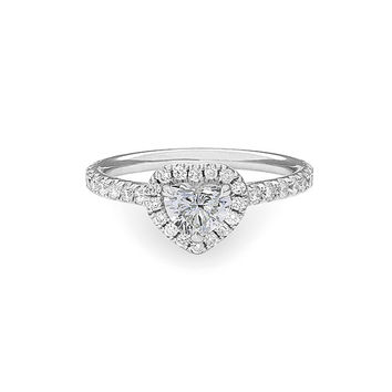 14K White Gold Heart Halo Engagement Ring