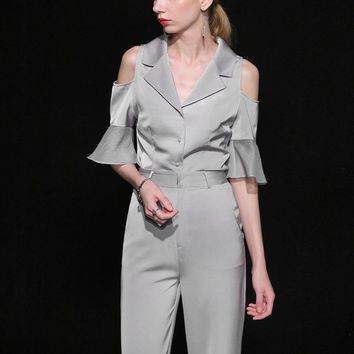 Women's Elegant Two-Piece Ruffled Sleeve & Skinny Pant Suit/Set