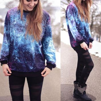 Galaxy printed loose round neck Pullovers Tops Sweater