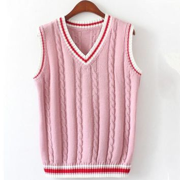 6 Color V Neck Vest Sweater Autumn Sleeveless Women Sweaters Fahsion Twist Pattern Knitted Pullovers All Match Pull Femme