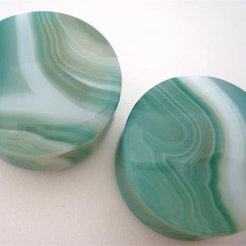 Lime Green Agate Stone Plugs (8 gauge - 1 inch)