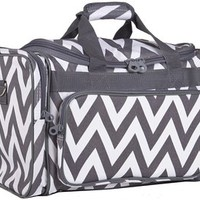 Ever Moda Grey Chevron Duffle Bag 19-inch