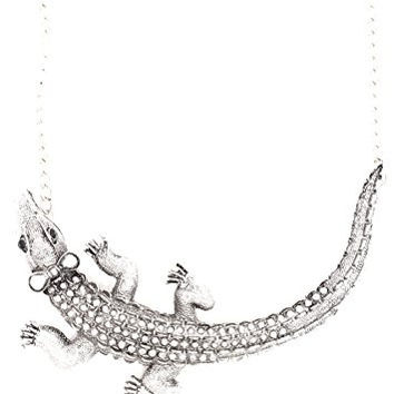 Alligator Necklace Vintage Silver Tone Crystal Girl Crocodile Pendant NT04 Fashion Jewelry