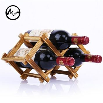 MINCH Classical Folding Red Wine Rack Bar Display Shelf Wood Wine Rack Alcohol  Drink 3/5 Bottle Holder Home Table Decor