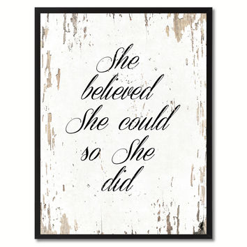 She Believed She Could So She Did Saying Canvas Print, Black Picture Frame Home Decor Wall Art Gifts