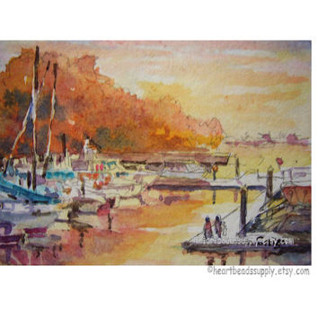 Sailboats, harbor, sunset, Singapore aceo painting wallart landscape id1360111 original watercolor, not a print, wall art, seascape