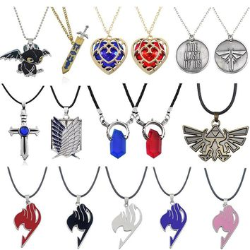 Hot Anime DMC Devil May Cry 5 Fairy Tail Pendants Necklaces Unisex Crystal Heart Dragon Sword Cosplay Necklace Jewelry Collares
