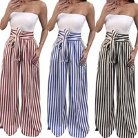 Mojo Wide Legged Striped Pants