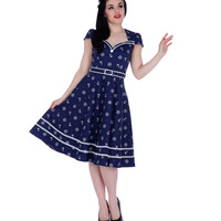 Voodoo Vixen Navy Nautical Print Flare Dress