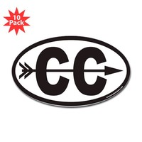 Cross Country Running CC Euro Oval Sticker With Ar Sticker (Oval 10 Pk) on CafePress.com