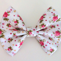 White and Pink Floral Hair Bow