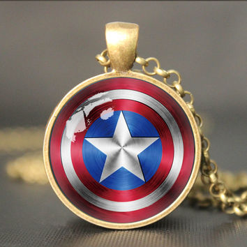 Captain America Pendant, Captain America Necklace, Captain America Shield Inspired Jewelry, Gift