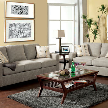 2 pc Wolver contemporary style pewter fabric Sofa and love seat set with flared set back square arms and nail head trim Made in the USA