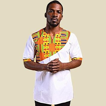 KOOFI SHORT SLEEVE AFRICAN KENTE PRINT MEN'S SHIRT