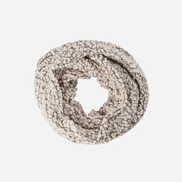 Womens Plush Textured Yarn Infinity Scarf With Gold Sequins Woven Into It