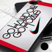 Nike Logo Wuote Go Hard Or Go Home  - Print Hard Case - iPhone 4/4s Case - iPhone 5 Case - iPod 4 / 5 - Black - White (Option Please)
