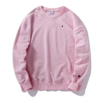 Champion Embroidery round collar sweater sweater Red