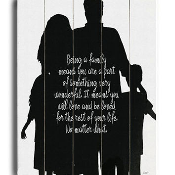 Being A Family - black & white... planked wooden art sign wall decor