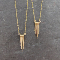 Delicate Gold Fill Graduated Fringe Necklace - Short Every Day Necklace - Minimalist Jewelry