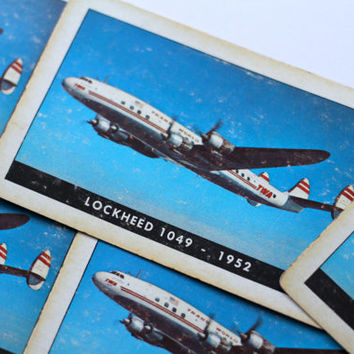 Vintage Lockheed 1048 Super Constellation Airline Card - Lot of 5 Cards for Swap Altered Art Collage Decoupage Mixed Media