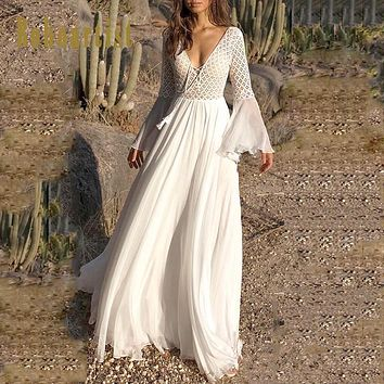 0e77cb26c0ca Bohoartist Women Sexy Dress Long Flare Sleeve V Neck White Party Hollow Boho  Lace Maxi Dress