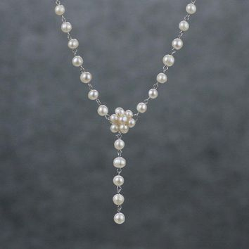 Pearl long lariat simple lariat necklace bridesmaids gifts Free US Shipping handmade Anni designs