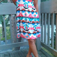 Tribal Lace Bow Top Short Strapless Coral Dress