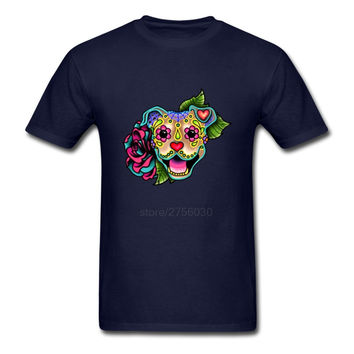O-Neck Tees Men's Smiling Pit Bull in Fawn - Day of the Dead Pitbull - Sugar Skull Mens Short Sleeve T-Shirts Casual Shirts
