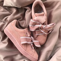 Best Online Sale Puma SUEDE Heart Satin II Pink Shoes Casual Shoes 364084-01