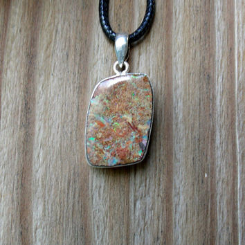 Boulder Opal Stone Pendant Sterling Silver Jewelry Necklace Kynd Valley Gemstone