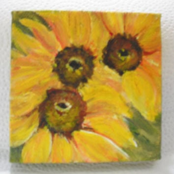 Sunflowers Original  mini painting on Canvas with Easel
