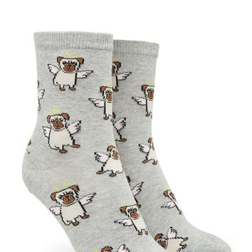 Angel Pug Crew Socks