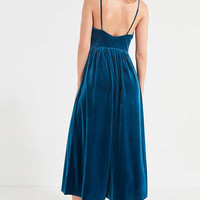 UO Emmabella Velvet Straight-Neck Jumpsuit | Urban Outfitters